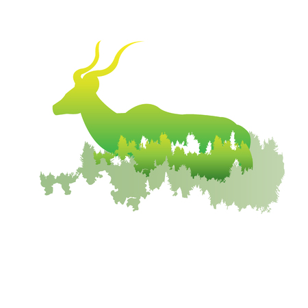 silhouette of a Greater Kudu Inside the pine forest, bright colors animal  park  illustration on white background, symbol