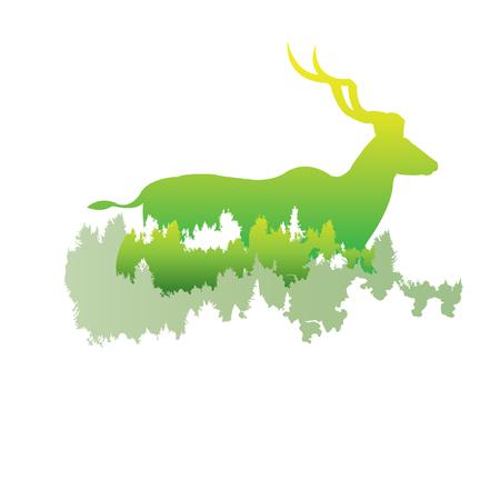 シルエットを大きくクーズー パイン フォレスト内に明るい色animal公園ベクトルの白い背景の上の図。ロゴ、シンボル