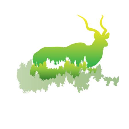 シルエットを大きくクーズー パイン フォレスト内に明るい色animalparkベクトルの白い背景の上の図。ロゴ、シンボル
