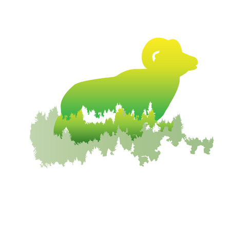 Silhouette of a bighorn sheep Inside the pine forest, bright colors animalpark  vector illustration on white background. logo, symbol
