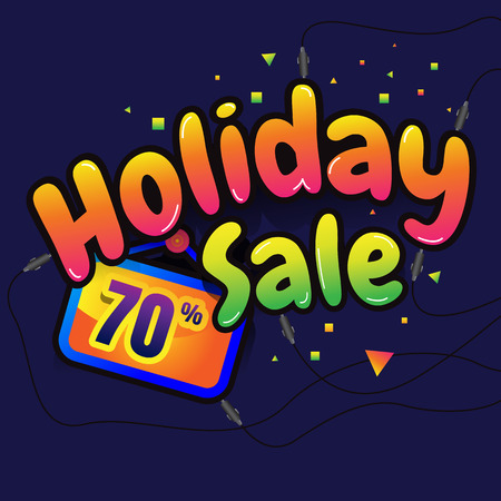 shopper: holiday Sale vector horizontal banner - 70% special offer. Layout with triangle elements. Abstract veiolet background. Design concept. Illustration