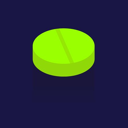 dosage: green 3D Medical Pill Or Drug Vector Illustration. Realistic With Soft Shadow In Front Isolated on blue background. logo. Symbols. Illustration