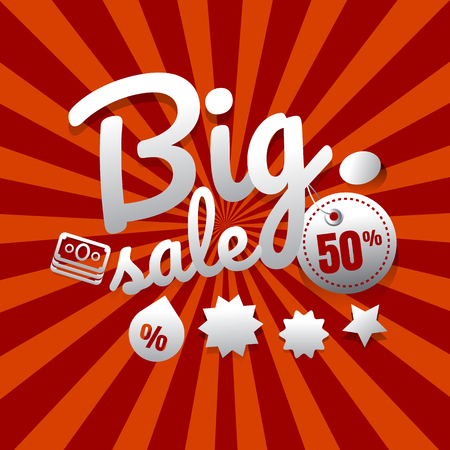 Sale poster with percent discount. vector. illustration. shopping. big sale. hot sale. super sale. background