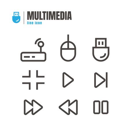 electronic music: Multimedia icons set. vector. on white background. logo. symbol. Illustration