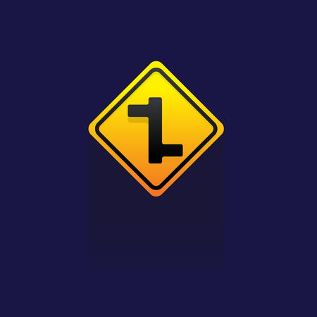 routing: Signs Traffic routing and alert on blue background vector logo icon symbol illustration.