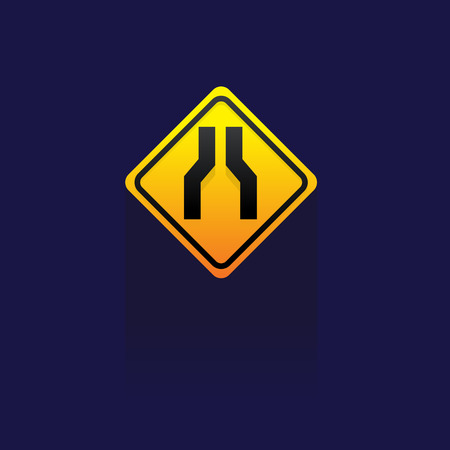 danger ahead: Caution Sign Road on blue background illustration. Illustration