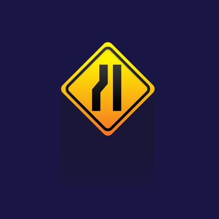 junction: Caution Sign Road on blue background illustration. Illustration