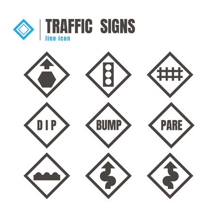 danger ahead: traffic sign icon set. logo. symbol. communications. on white background