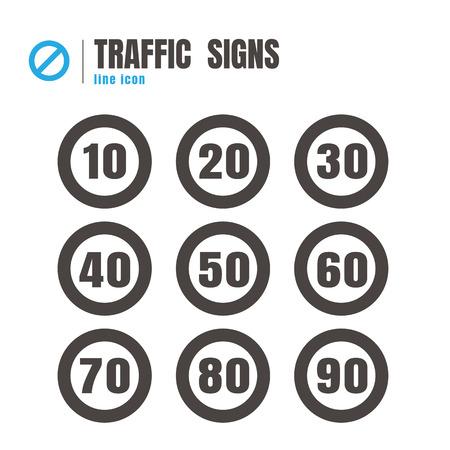 Le trafic de vitesse. jeu d'icônes de signe de circulation. logo. symbole. communications. sur fond blanc Banque d'images - 82284118