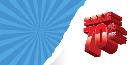 sale. Red background and with a discount of 70 percent, vector illustration
