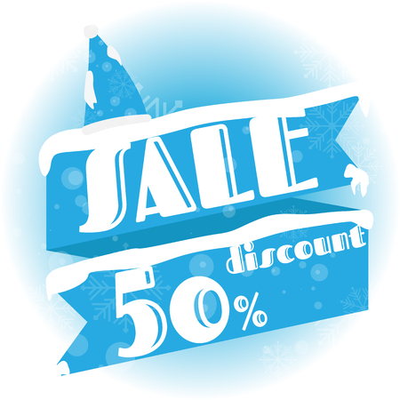 Winter sale. white and blue background and with a discount of 50 percent, vector illustration