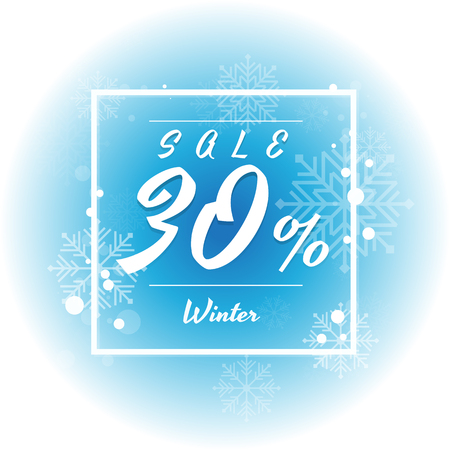Winter sale on white and blue background with snowflake. Vector illustration. discount. big sale. super sale. anniversary. holiday. 10,20,30,50,70 percent