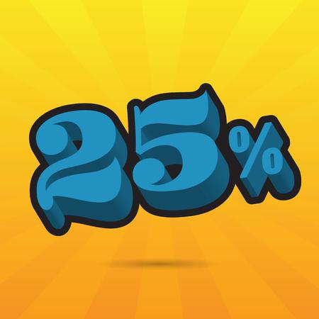 Font up to 25% off. vector illustration. Sale banner