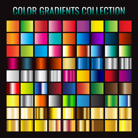 Gradient collection. Vector illustration. on black background.