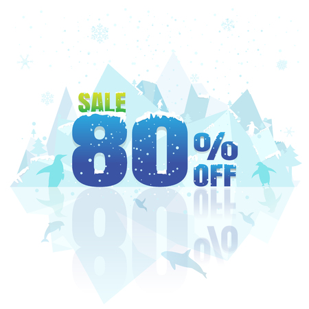 tally: Sale winter with 80% off on white background vector illustration with iceberg, snow, snow flake,  penguin, dolphin and killer whale