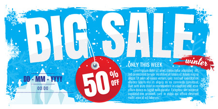 Winter sale banner. discount 50%. Vector illustration. on white background