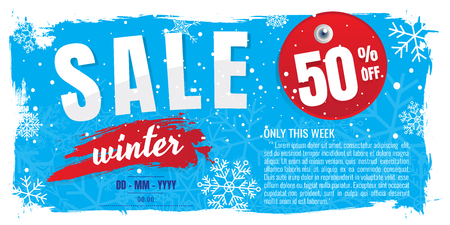 Winter sale banner. discount 70%. Vector illustration. on white background