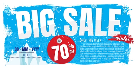 Winter big sale banner. discount 70%. Vector illustration. on white background