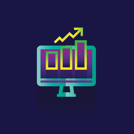 optimizing: Icon marketing Business. idea. illustration isolated sign symbol thin line for web, modern minimalistic flat design vector on blue graph going up