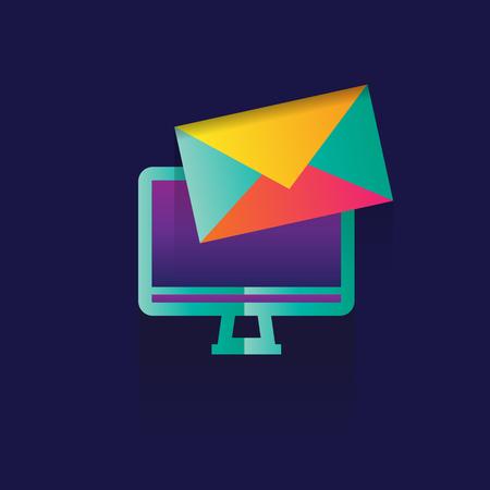 optimizing: Icon marketing Business. idea. illustration isolated sign symbol thin line for web, modern minimalistic flat design on blue logo. envelope