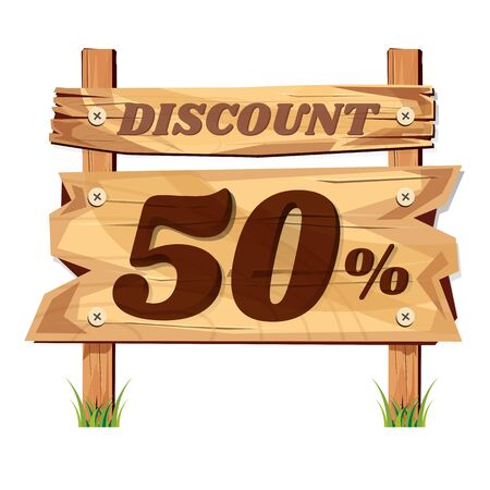 wooden sign board. sale discount 50%. Sale signboard. surface. vector. on white background Illustration