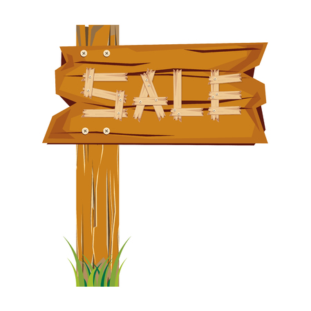wooden sign board. sale discount. Sale signboard. surface. vector. on white background Illustration
