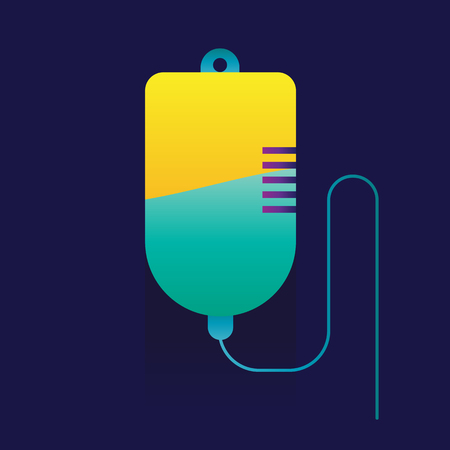 intravenous drip: Blood transfusion saline bag vector on blue background. icon