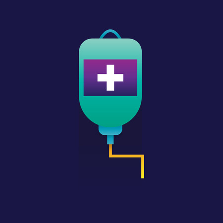 Blood transfusion saline bag vector on blue background. icon