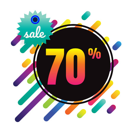 digital background: Sale discount 70% banner on white background. vector illustration. colorful