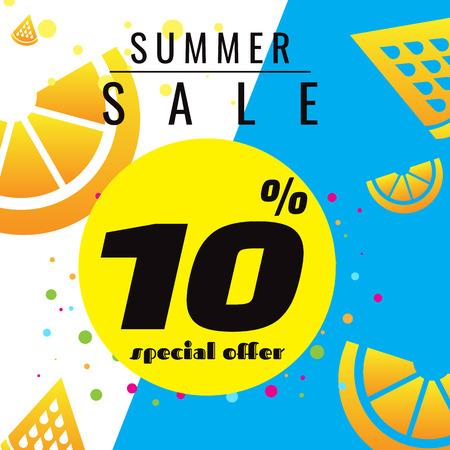 summer sale template banner, bright design. Vector illustration on background. discount Illusztráció