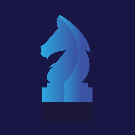 Chess piece flat icon. on blue background. vector illustration. logo. Symbols. Business Иллюстрация