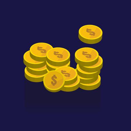 Gold coins vector icons, golden coins stacks and heaps. on blue background. illustration. logo. Symbols Illustration