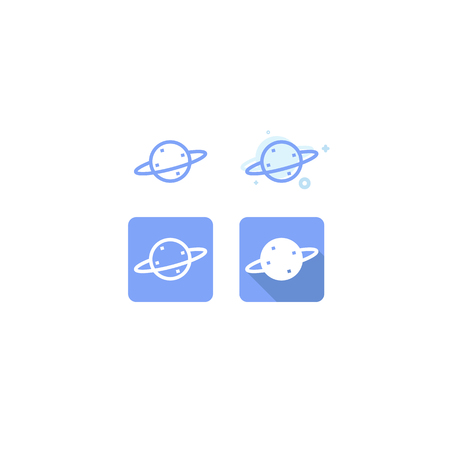 Saturn Blue Icon On White Background Logo Web Symbols Vector