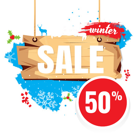 vector sales and percents illustration. on white background. banner. 50% discount Illustration