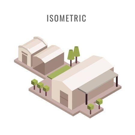 Isometric city buildings illustration.