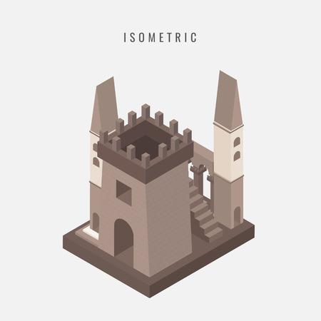icône isométrique de la tour de la tour du château médiéval illustration vectorielle