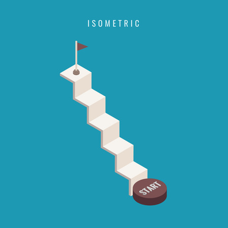 isometric. icon. Set staircase 3d concrete. Blank up ladder isolated. Vector illustration on a white background. Business. Metaphor. starting point. success