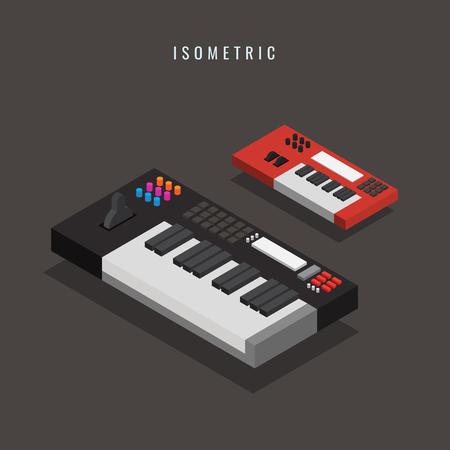 Isometric electronic keyboard vector illustration Illustration