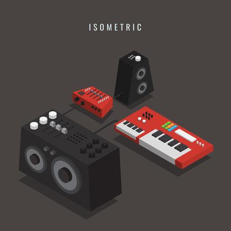 Isometric electronic keyboard with Loudspeaker. Musical Equipment vector illustration. Illustration