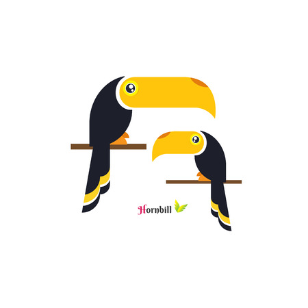 Vector of toucan Hornbill bird design on white background. Wild Animals. vector illustration. image