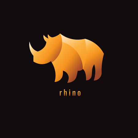 Rhino Gradient Orange on a dark background. logo. symbol. vector