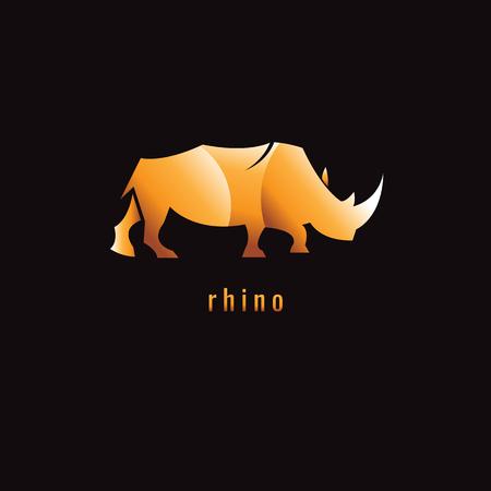 Rhino Gradient Orange on a dark background. logo. symbol. vector