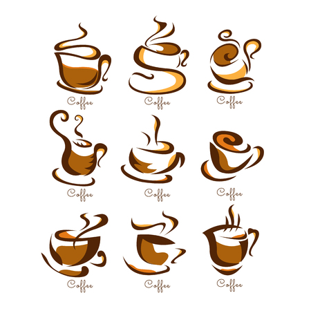 Coffee cups icon brown Design Collection Illustration
