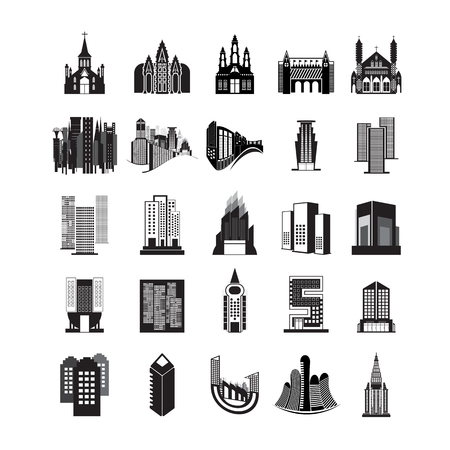 vector set of various buildings. on white background Çizim