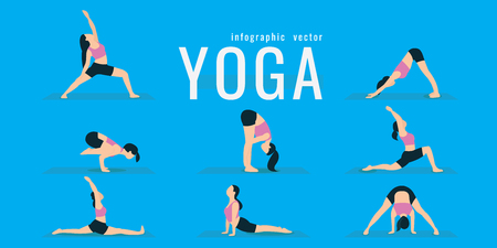 Woman doing fitness and yoga exercises. Lunges and squats. Active and healthy life concept. vector illustration. on blue background. icons of girl doing sport