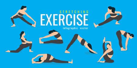 Stretching-Übungen für Frauen. Aktives und gesundes Lebenskonzept. Vektorillustration. auf blauem hintergrund. Ikonen des Mädchens, das Sport treibt