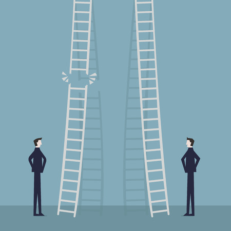 risk in career promotion concept. Two businessmen standing and climbing corporate ladders. Business concept of job progress.