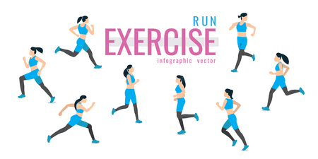 runs. exercises on white background. healthy. vector