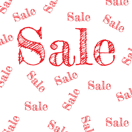 Sale pattern discount red on white background. vector
