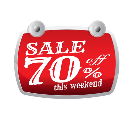 Sale discount up to 70 percent off red. banner. Businesson. marketing. on white background